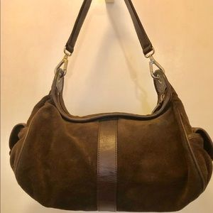 POLLINI brown suede and leather shoulder bag